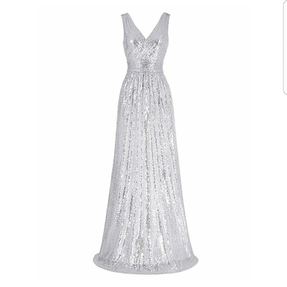 Dresses | Silver Sequin Evening Gown Bridesmaid Dress | Poshmark